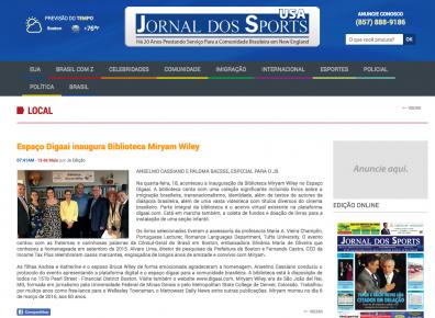 Matéria de Cobertura do Evento - Jornal dos Sports - 1