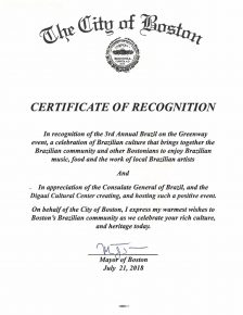 Certificate of Recognition Mayor Martin J. Walsh